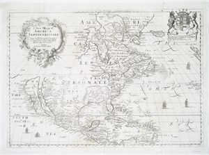 A new mapp of America Septentrionale / designed by Mousieur Sanson, geographer to the French King and rendred into English, and illustrated by Richard Blome by His Majesties especiall command ; Francis Lamb sculp.