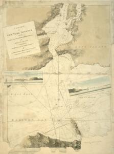 A chart of New York Harbour : with the soundings, views of land marks and nautical directions for the use of pilotage / composed from surveys and observations of lieutenants John Knight, John Hunter of the Navy & others.