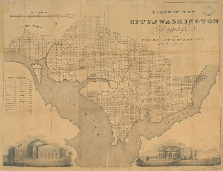 A correct map of the city of Washington : capital of the United States of America : lat. 38.53 n., long. 0.0 / eng'd by W.I. Stone, Wash'n.