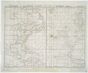A new map or chart in Mercators projection of the Western or Atlantic Ocean : with part of Europe, Africa and America.