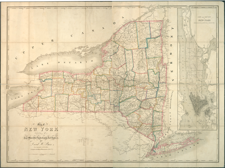 Map of New York exhibiting the post offices, post roads, canals, rail roads &c. / By David H. Burr (late topographer to the Post Office), geographer to the House of Representatives of the U.S.