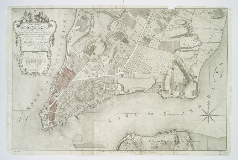 This is What Thomas Kitchin and To His Excellency Sr. Henry Moore Bart. captain general and governour in chief in & over the Province of New York & the territories depending thereon in America chancellor & vice admiral of the same this plan of the city of New York is most humbly  Looked Like  on 1/12/1776