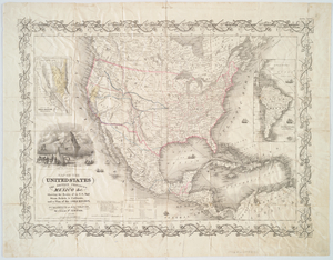 Map of the United States, the British provinces, Mexico, &c. : showing the routes of the U.S. mail steam packets to California and a plan of the gold region / drawn & engraved by J.M. Atwood, New York.