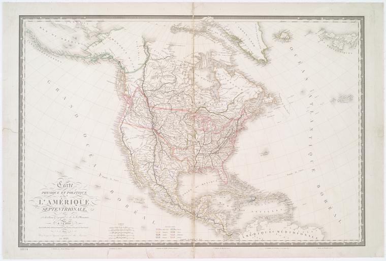 Carte physique et politique de l'Amérique septentrionale / par A.H. Brué, géographe de S.A.R. Monsieur.