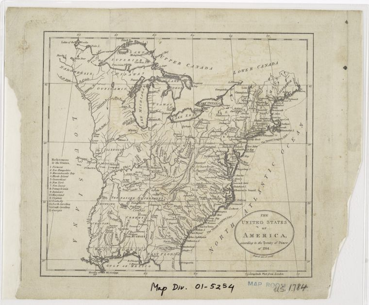 The United States of America, according to the Treaty of Peace of 1784 / Russell, del. et sculpt.