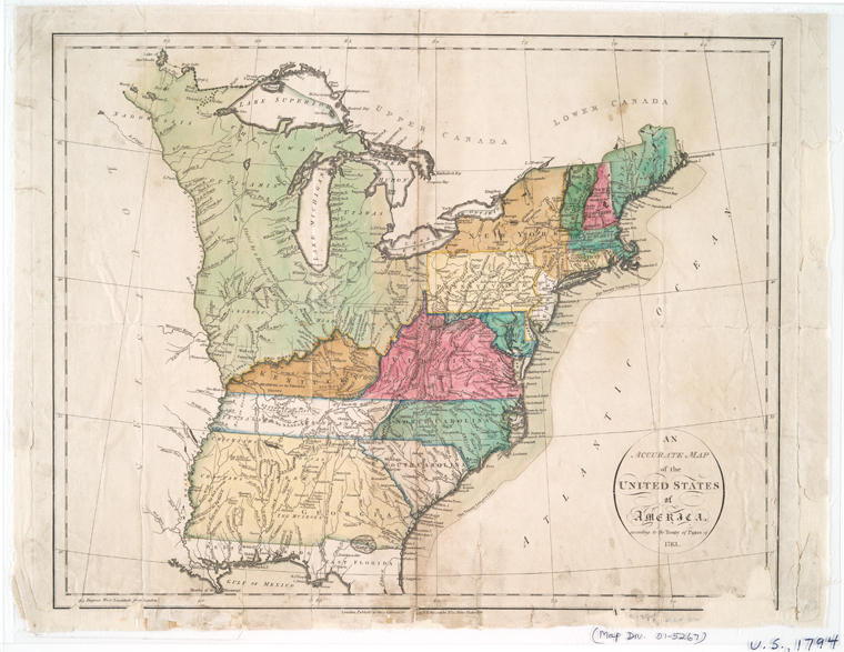 An accurate map of the United States of America : according to the Treaty of Peace of 1783.