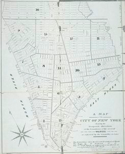 A Map of the city of New York shewing the proposed alteration of the boundaries of the several wards as reported by the Committee on Laws.