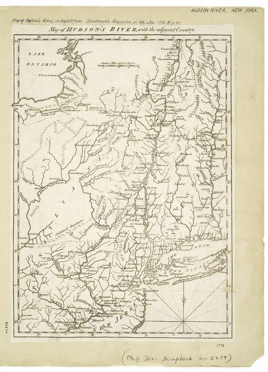 Map of Hudson's River, with the adjacent country  - NYPL