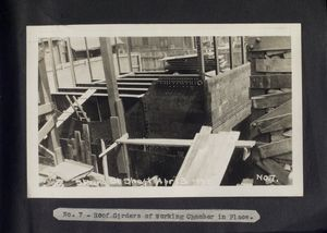 Roof girders of working chamber in place. Spring Street shaft, April 13, 1921.