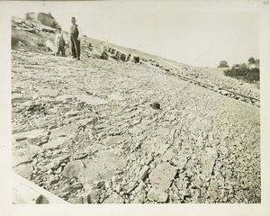 Ashokan Reservoir. Placing paving on up-stream side of East dike. Contract 3. October 3, 1912.