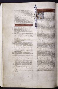 Opening of Ptolemy's text.  Smaller gold initial with vinescroll.  Gold rubrics on red fields.  Table of contents.