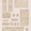 Neues Reich. Dyn. XXVI. a-c. Theben [Thebes]. Karnak ; d. Von  in der Nähe von Philae; e.f. Insel Konosso; g. Kahira; h.i. Naharîeh; k. Theben [Thebes]. Felseninschrift ... von Bab el Meluk; l. Insel Bigeh; m. Ost Silsilis; n.o. Theben. Karnak