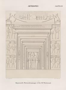 Aethiopen. Begerauîeh [Begrawiya]. Pyramidengruppe A. Pyr. 14. Westwand.