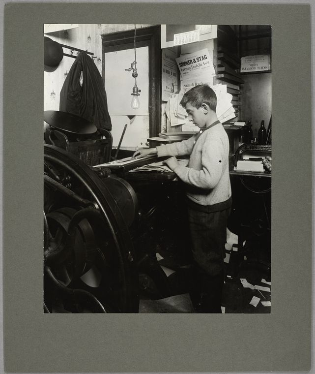 A twelve-year-old Italian boy...in a job printing shop, 1913