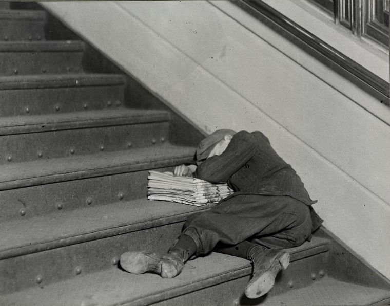 One of the many young newsboys selling late at night..., November 1912