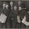 A group of news boys starting out in a snowstorm..., 1906