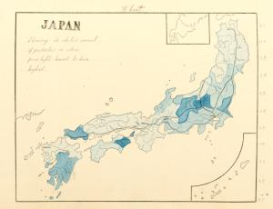 Japan, wheat, showing the relative amount of production in colors, from light, lowest, to dark, highest.