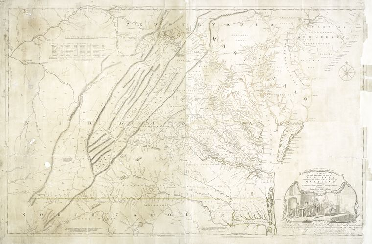 A map of the most inhabited part of Virginia : containing the whole province of Maryland with part of Pensilvania, New Jersey and North Carolina / drawn by Joshua Fry & Peter Jefferson in 1775.