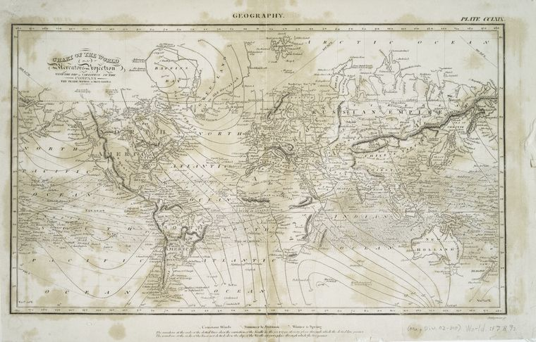 Chart of the world on Mercators projection : with the dip & variation of the compass, the trade winds & monsoons / J.H. Seymour, sc.