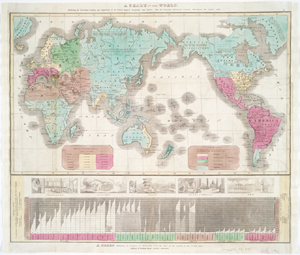 A chart of the world : exhibiting the prevailing religion and population of the present empires, kingdoms and states : also the principal missionary stations throughout the globe, 1842.