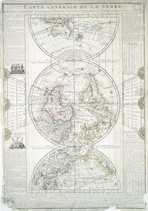Carte generale de la terre : appliquée a l'astronomie pour l'etude de la géographie terrestre et celeste / dressée par le Sr. Flecheux, d'apres les nouvelles observations ; Picquet, sculp., 1782.