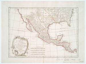 Carte du Mexique ou de la Nlle. Espagne contenant aussi le Nouveau Mexique, la Californie, avec une partie des pays adjacents / projettée et assujettie au ciel par Mr. Bonne, hydroge. ; Arrivet, inv. & sculp.