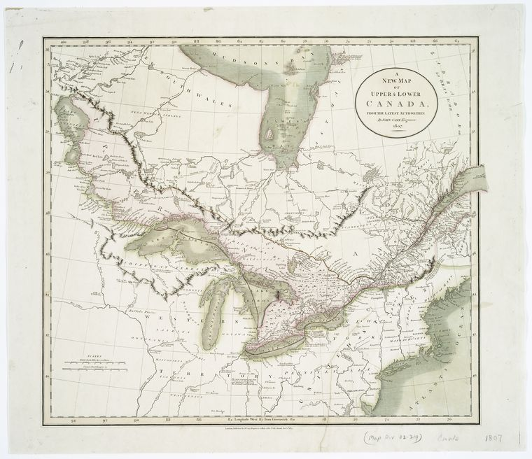 This is What John Cary and A new map of Upper & Lower Canada Looked Like  on 12/1/1807