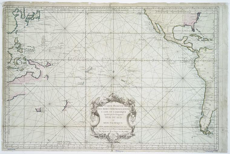 Carte reduite des mers comprises entre l'Asie et l'Amerique : apelées par les navigateurs Mer du Sud ou Mer pacifique : pour servir aux vaisseaux du Roi / dressée aux dépost des cartes, plans et journaux de la marine, par ordre de M. le Comte de Maurepas, 1742 ; Dheulland, sculp.