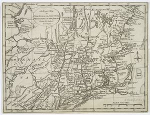 An exact map of New England, New York, Pensylvania & New Jersey, from the latest surveys / J. Lodge, sculp.