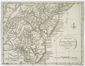 An exact map of New Jersey, Pensylvania, New York, Maryland & Virginia, from the latest surveys / J. Lodge, sculp.