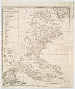 An accurate map of the British, French & Spanish settlements in Nth. America and the West Indies : as stipulated by the preliminary articles of peace sign'd at Fontainebleau by the ministers of Great Britain, France & Spain, Novr. 3d, 1762. / J. Gibson sculp.