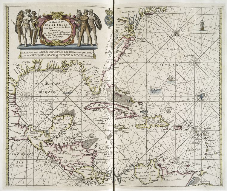 A chart of the West Indies from Cape Cod to the River Oronoque / by John Seller, hydrographer to the King, at the Hermitage Stairs in Wapping, London.