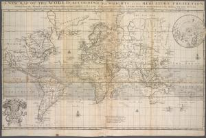 A new map of the world according to Wrights alias Mercators projection &c. : drawn from the newest and most exact observations together with a view of the general and coasting trade winds, monsoons or the shifting trade winds with other considerable improvements &c. / H. Moll, fecit.