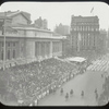 Central building, exterior views, Fifth Avenue : head of Civic Parade, passing grand stand at N.Y.Public Library, May 17, 1913, looking south, stands filled.