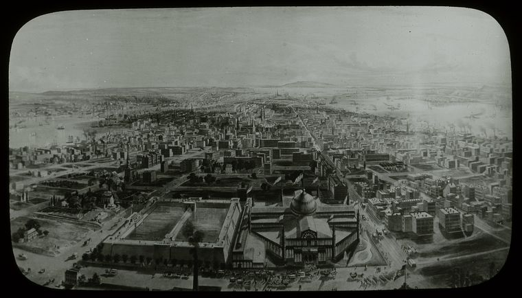 Central building, paintings, N.Y. in 1855 from Latting Tower by B.F. Smith : New York from the Latting Observatory, showing reservoir and Crystal Palace.