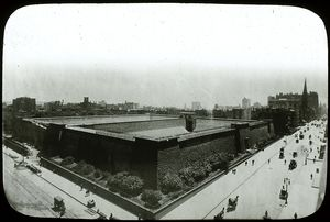 Croton reservoir in 1900, in process of demolition.
