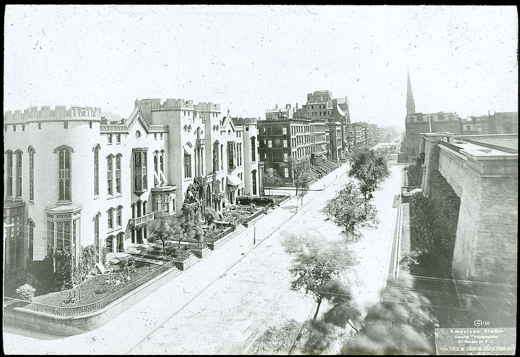 Croton reservoir : Fifth Avenue looking south, 1880, Rutgers Female College, left, reservoir, right.