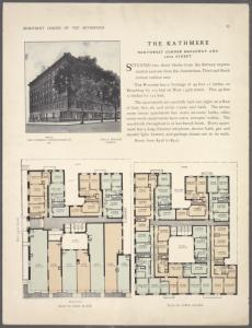 The Kathmere, northwest corner Broadway and 135th Street; Plan of first floor; Plan of upper floors.