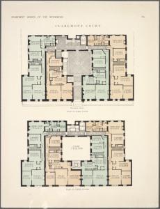 Claremont Court. Plan of first floor; Plan of upper floors.