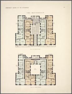 The Montebello. Plan of first floor; Plan of upper floors.