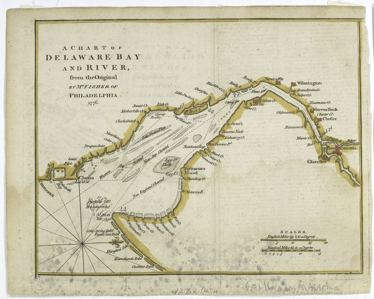 This is What Joshua Fisher and A chart of Delaware Bay and River Looked Like  in 1779