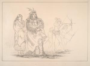 Ojibbeway. 131. Sha-co-pay (the Six), Head Chief of the tribe, ... ; 132. Wife of the Chief; 133-135. Sons of the Chief, amused by their bows and arrows.