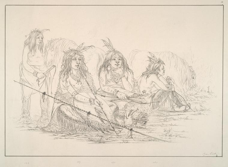 Camanchee. 159. Ee-sha-ko-nee (the Bow and Quiver) Head Chief of the tribe; 160-162. Ha-nee (the Beaver), Is-da-wah-tam-mee ( the Wolf Tied with Hair), Ish-a-ro-ye (he who carries the Wolf), Three favourite warriors of the Chief, ....