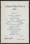 """NEW YEAR DINNER [held by] HOTEL ST. GEORGE [at] """"NYACK, NY"""" (HOTEL;)"""