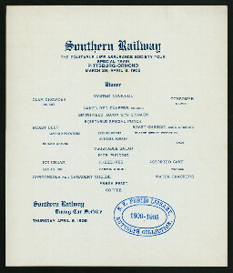 "DINNER ON TOUR VIA SOUTHERN RAILWAY [held by] EQUITABLE LIFE ASSURANCE SOCIETY [at] ""EN ROUTE, PITTSBURGH TO ORMOND"" (RR;)"
