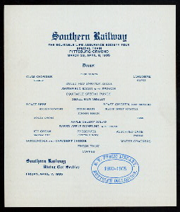 "DINNER ON ON TOUR VIA SOUTHERN RAILWAY [held by] EQUITABLE LIFE ASSURANCE SOCIETY [at] ""EN ROUTE, PITTSBURGH TO ORMOND"" (RR;)"