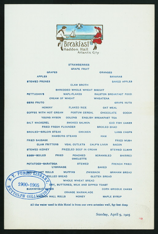 "BREAKFAST [held by] HADDON HALL [at] ""ATLANTIC CITY, NJ"" (HOTEL;)"