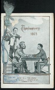 """THANKSGIVING DINNER [held by] HOTEL NEDDO [at] """"NORFOLK, VA"""" (HOTEL;)"""