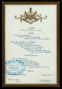 """[DAILY MENU?] [held by] STAGSHAW HOUSE [at] """"CORBRIDGE, [ENGLAND?]"""" (HOTEL;)"""