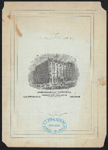 "DINNER [held by] ALBERMARLE HOTEL [at] ""NEW YORK, NY, MADISON SQUARE;"" (HOTEL)"